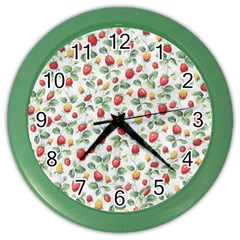 Strawberry Pattern Color Wall Clocks by Valentinaart