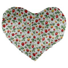 Strawberry Pattern Large 19  Premium Flano Heart Shape Cushions by Valentinaart