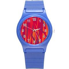 Pattern Round Plastic Sport Watch (s) by Valentinaart