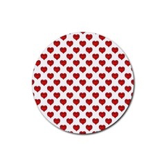 Emoji Heart Shape Drawing Pattern Rubber Round Coaster (4 Pack)  by dflcprints