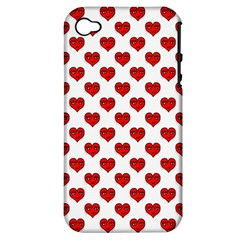 Emoji Heart Shape Drawing Pattern Apple Iphone 4/4s Hardshell Case (pc+silicone) by dflcprints
