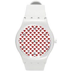 Emoji Heart Character Drawing  Round Plastic Sport Watch (m) by dflcprints