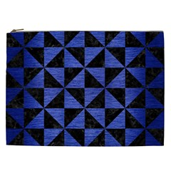 Triangle1 Black Marble & Blue Brushed Metal Cosmetic Bag (xxl) by trendistuff
