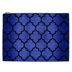 Tile1 Black Marble & Blue Brushed Metal (r) Cosmetic Bag (xxl) by trendistuff