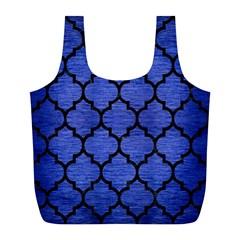 Tile1 Black Marble & Blue Brushed Metal (r) Full Print Recycle Bag (l) by trendistuff