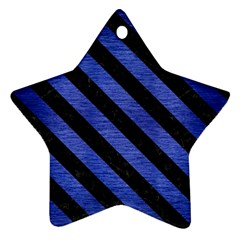 Stripes3 Black Marble & Blue Brushed Metal (r) Ornament (star) by trendistuff