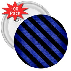 Stripes3 Black Marble & Blue Brushed Metal (r) 3  Button (100 Pack) by trendistuff