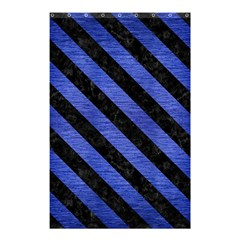 Stripes3 Black Marble & Blue Brushed Metal (r) Shower Curtain 48  X 72  (small) by trendistuff