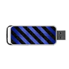 Stripes3 Black Marble & Blue Brushed Metal (r) Portable Usb Flash (one Side) by trendistuff