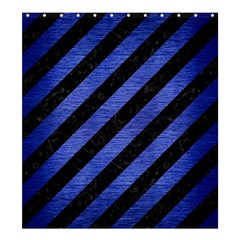 Stripes3 Black Marble & Blue Brushed Metal Shower Curtain 66  X 72  (large) by trendistuff