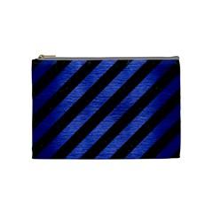 Stripes3 Black Marble & Blue Brushed Metal Cosmetic Bag (medium) by trendistuff