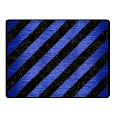 Stripes3 Black Marble & Blue Brushed Metal Fleece Blanket (small) by trendistuff