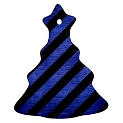 Stripes3 Black Marble & Blue Brushed Metal Christmas Tree Ornament (two Sides) by trendistuff