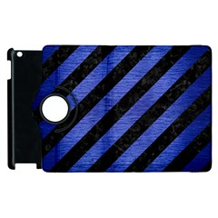 Stripes3 Black Marble & Blue Brushed Metal Apple Ipad 2 Flip 360 Case by trendistuff