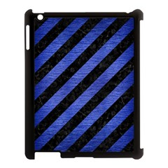 Stripes3 Black Marble & Blue Brushed Metal Apple Ipad 3/4 Case (black) by trendistuff
