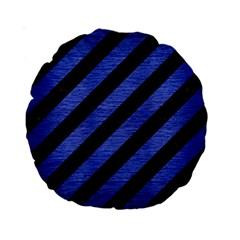 Stripes3 Black Marble & Blue Brushed Metal Standard 15  Premium Round Cushion  by trendistuff