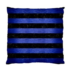 Stripes2 Black Marble & Blue Brushed Metal Standard Cushion Case (one Side) by trendistuff