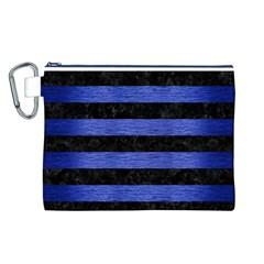 Stripes2 Black Marble & Blue Brushed Metal Canvas Cosmetic Bag (large) by trendistuff