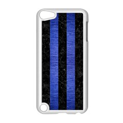 Stripes1 Black Marble & Blue Brushed Metal Apple Ipod Touch 5 Case (white) by trendistuff