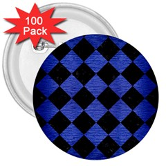 Square2 Black Marble & Blue Brushed Metal 3  Button (100 Pack) by trendistuff