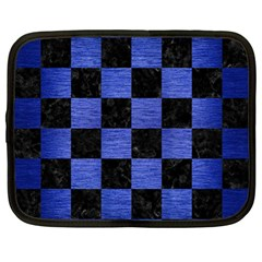 Square1 Black Marble & Blue Brushed Metal Netbook Case (large) by trendistuff
