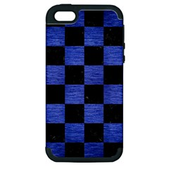 Square1 Black Marble & Blue Brushed Metal Apple Iphone 5 Hardshell Case (pc+silicone) by trendistuff