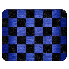 Square1 Black Marble & Blue Brushed Metal Double Sided Flano Blanket (medium) by trendistuff