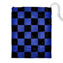 Square1 Black Marble & Blue Brushed Metal Drawstring Pouch (xxl) by trendistuff