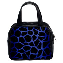 Skin1 Black Marble & Blue Brushed Metal (r) Classic Handbag (two Sides) by trendistuff