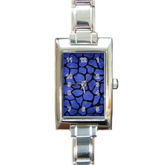 Skin1 Black Marble & Blue Brushed Metal Rectangle Italian Charm Watch by trendistuff