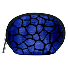 Skin1 Black Marble & Blue Brushed Metal Accessory Pouch (medium) by trendistuff