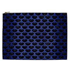 Scales3 Black Marble & Blue Brushed Metal Cosmetic Bag (xxl) by trendistuff