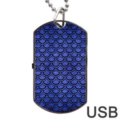 Scales2 Black Marble & Blue Brushed Metal (r) Dog Tag Usb Flash (one Side) by trendistuff