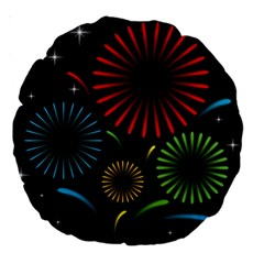 Fireworks With Star Vector Large 18  Premium Round Cushions
