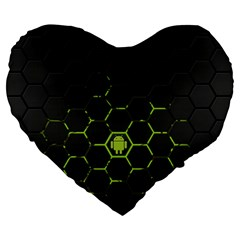 Green Android Honeycomb  Large 19  Premium Heart Shape Cushions by Gogogo