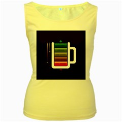 Black Energy Battery Life Women s Yellow Tank Top by Gogogo