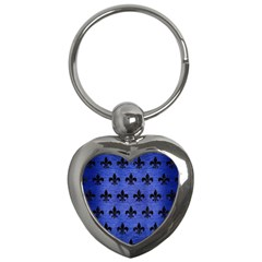 Royal1 Black Marble & Blue Brushed Metal Key Chain (heart) by trendistuff