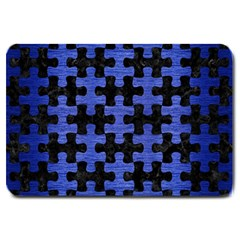 Puzzle1 Black Marble & Blue Brushed Metal Large Doormat by trendistuff