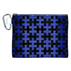 Puzzle1 Black Marble & Blue Brushed Metal Canvas Cosmetic Bag (xxl) by trendistuff