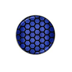 Hexagon2 Black Marble & Blue Brushed Metal (r) Hat Clip Ball Marker by trendistuff