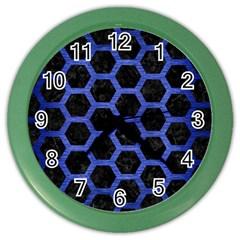 Hexagon2 Black Marble & Blue Brushed Metal Color Wall Clock by trendistuff