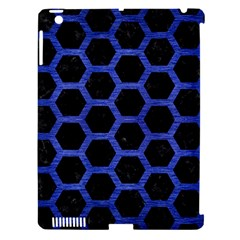 Hexagon2 Black Marble & Blue Brushed Metal Apple Ipad 3/4 Hardshell Case (compatible With Smart Cover) by trendistuff