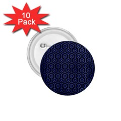 Hexagon1 Black Marble & Blue Brushed Metal 1 75  Button (10 Pack)  by trendistuff
