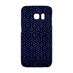 Hexagon1 Black Marble & Blue Brushed Metal Samsung Galaxy S6 Edge Hardshell Case by trendistuff