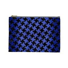 Houndstooth2 Black Marble & Blue Brushed Metal Cosmetic Bag (large) by trendistuff