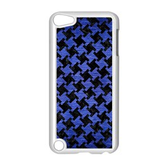 Houndstooth2 Black Marble & Blue Brushed Metal Apple Ipod Touch 5 Case (white) by trendistuff