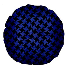 Houndstooth2 Black Marble & Blue Brushed Metal Large 18  Premium Flano Round Cushion  by trendistuff