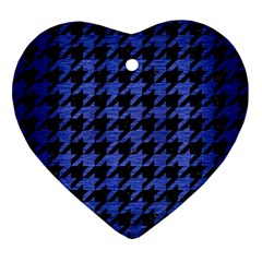 Houndstooth1 Black Marble & Blue Brushed Metal Ornament (heart) by trendistuff