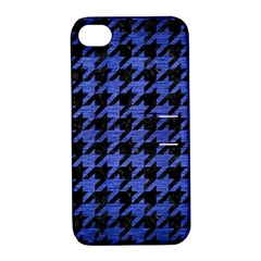 Houndstooth1 Black Marble & Blue Brushed Metal Apple Iphone 4/4s Hardshell Case With Stand by trendistuff
