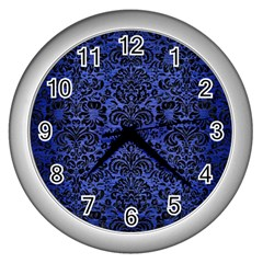 Damask2 Black Marble & Blue Brushed Metal (r) Wall Clock (silver) by trendistuff